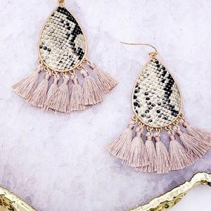 Teardrop Snake Print Tassel Earrings